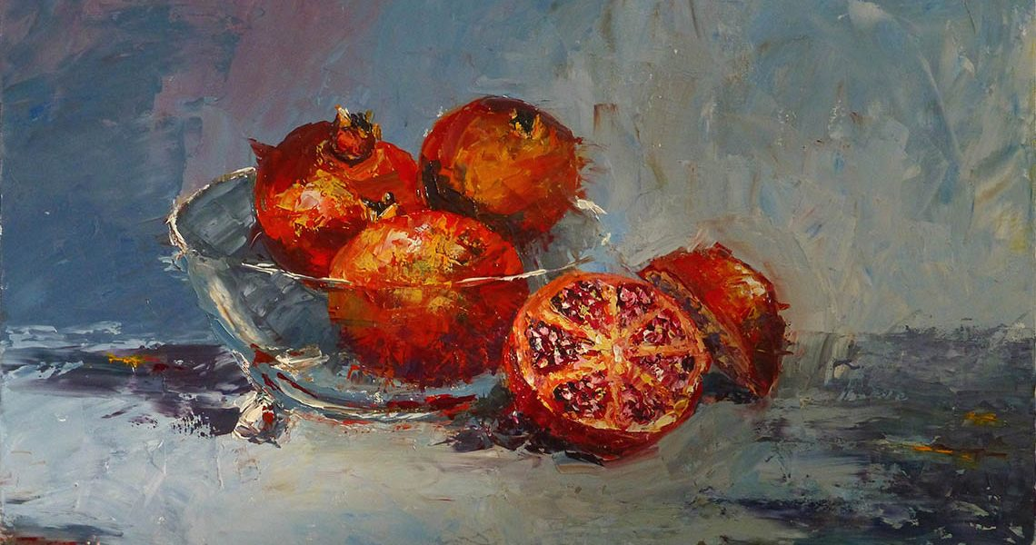 Pomegranates In A Glass Bowl - Fiona Hooper
